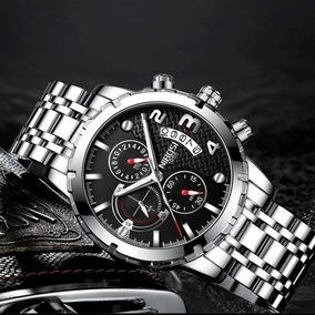 Relógio Pulso - Nibosi - Prata Fundo Preto 46mm - Hardlex