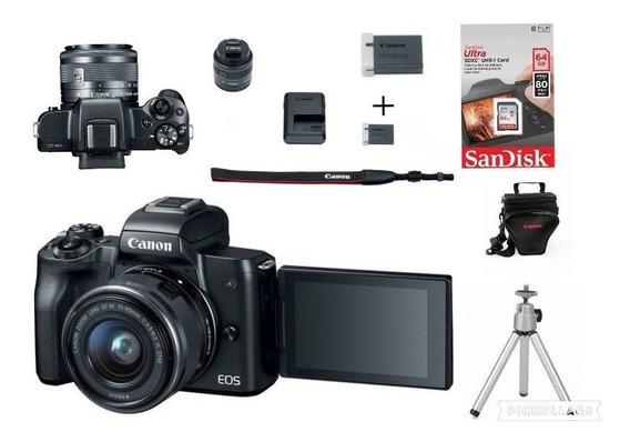 Canon Eos M50tef-m15-45mm+bolsa+tripe+64gb+1 Bateria Reserva