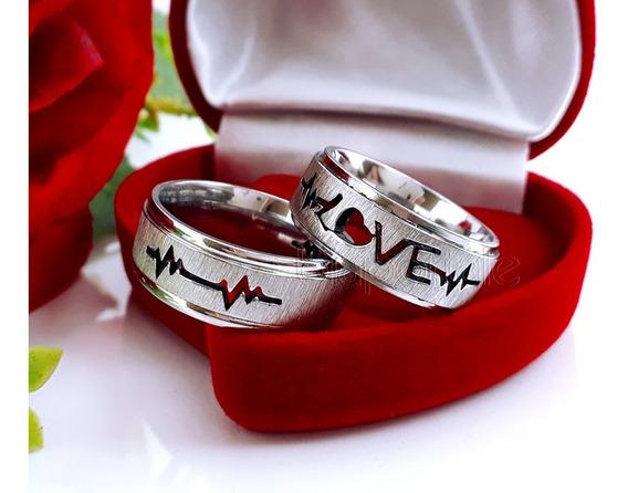 Par De Alianças Love Batimento Cardíaco Namoro M442