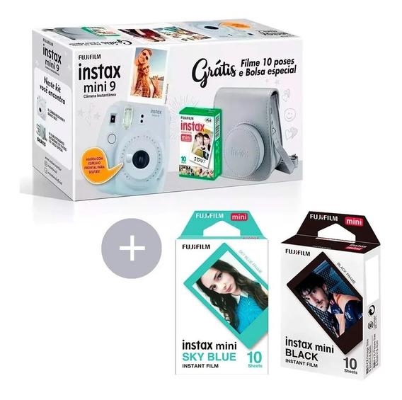 Kit Câmera Mini 9 +10 Fotos + Bolsa Branco+ 10black + 10blue