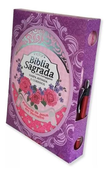 Biblia Sagrada Letra Extragigante C/ Harpa Capa Feminina
