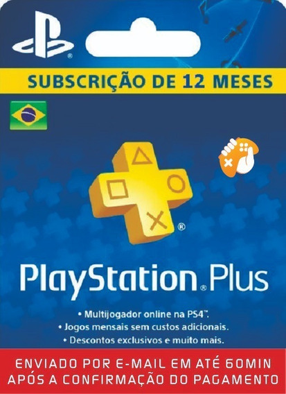 Cartão Psn Playstation Plus 12 Meses Br Ps3 Ps4 - 1 Ano Br