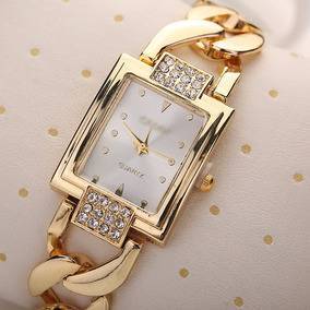Relógio Barato Analógico Feminino Social Aço Dourado Luxo