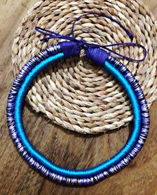 Maxi Colar Curto De Linhas Infinito Azul