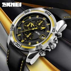 Reloj Elegante Negro Con Amarillo