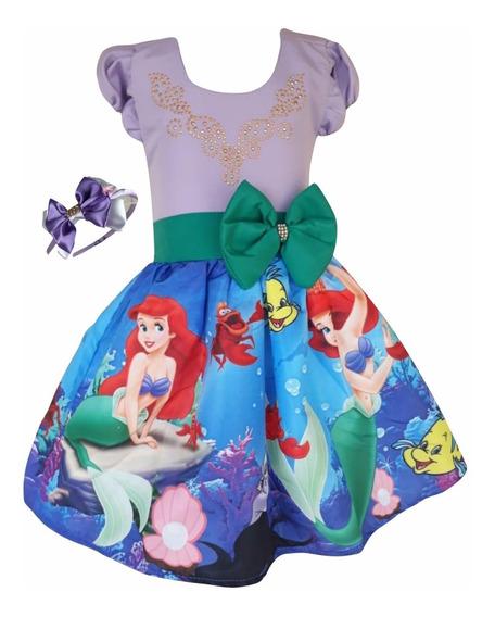 Vestido Ariel Pequena Sereia + Tiara Brinde