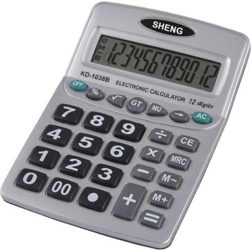 2 Calculadora De Mesa 12digitos Pilha Aaa Prata Hoopson Unid