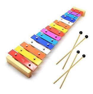 Celemoon Glockenspiel Xilofono Infantil De Madera Natural Pa