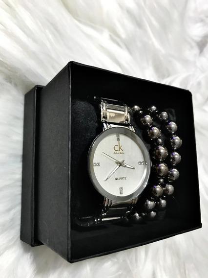 Relógio Feminino Luxo Pulseira Em Aço