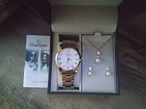 Relógio Champion Feminino Dourado Cn29883j + Brinde