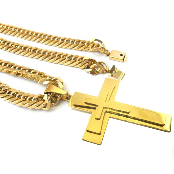 Corrente Grossa 60cm Pingente Crucifixo Placa Aço Banho Ouro