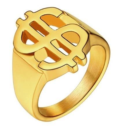 Anel Dollar Banhado A Ouro Aro 20