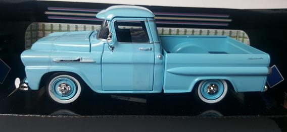 Chevrolet Chevy Apache fleetside pick up azul 1958 1//24 Motormax modelo auto con