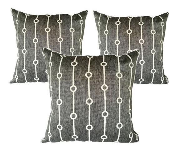 3 Cojines Decorativos Gris Geometrico Para Salas Y Recamaras