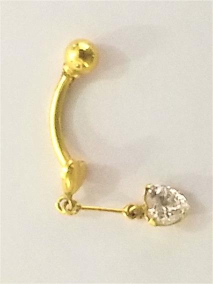 Pircing Umbigo Coração Com Zircônia Ouro Amarelo 18 K 750