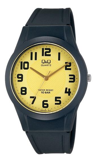 Relógio Q&q Preto Fundo Dourado Pulseira Borracha Vq50j001y