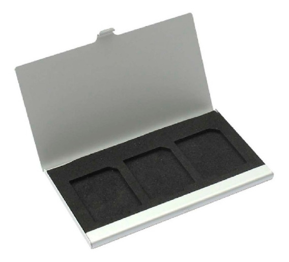Case Sd Aluminio Porta Cartão De Memoria Sdhc 3 Cartões