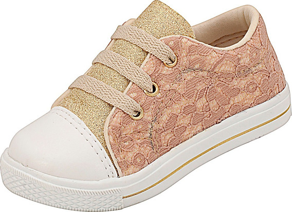 Tênis Infantil Menina Renda Rosê Plis Calçados 457