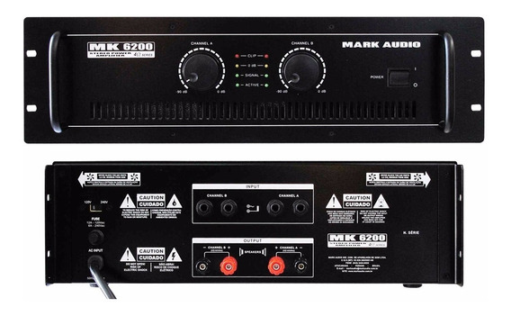 Amplificador Potência Mark Audio Mk6200 1200rms Mk-6200 Top