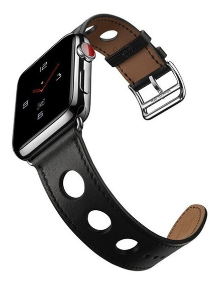 Pulseira Couro Estilo Hermes Furos Apple Watch 42/44mm Preta