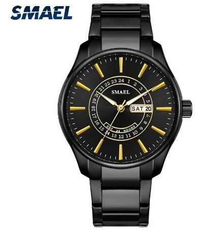 Relógio Masculino Luxo Preto C/ Dourado Inox Original