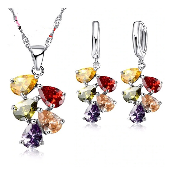 Corrente Feminina Brincos Prata Cristal Colorido Flores C487