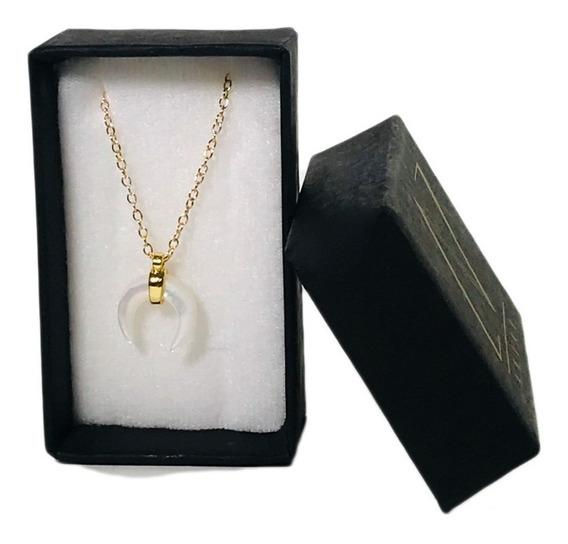 Collar Luna Mediana Madre Perla Blanca Chapa De Oro Regalo