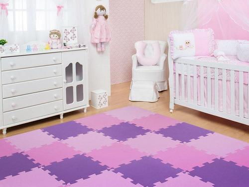Kit 10 Placas Tatame Tapete Eva Infantil 50x50x1cm Tons Rosa