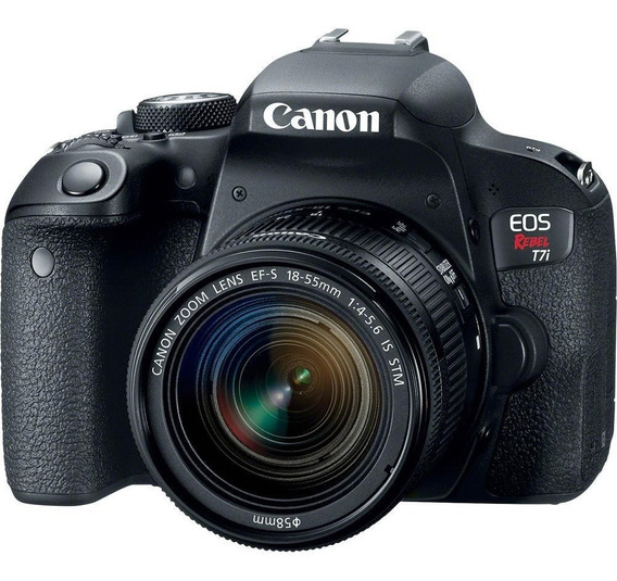 Câmera Digital Canon Rebel T7i Com Lente 18-55mm Stm