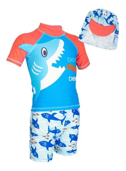 Traje De Baño Tiburon Cool Niños 3 Pzas * Envio Inmediato