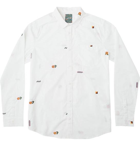 Camisa Rvca, Mod. Lp Mix Ls Shirt, Color Wht.