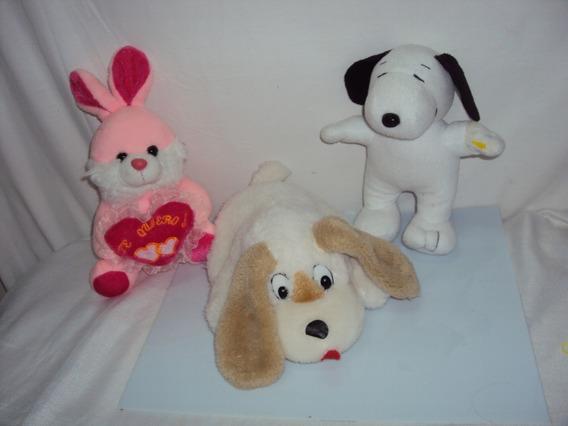 Kit De 3 Pelucias Snoopy Cachorro E Coelho