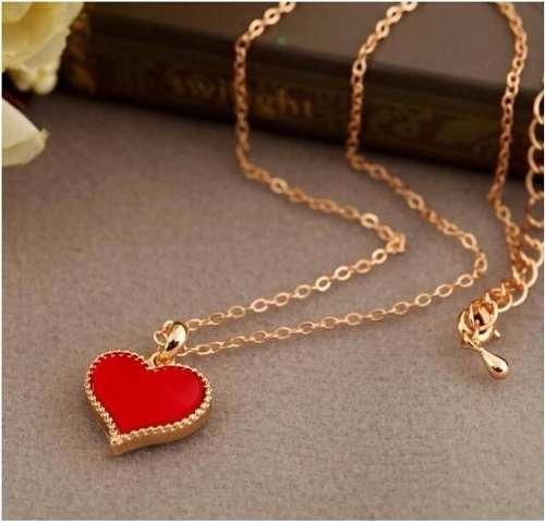 Colar Feminino Barato Coração Vermelho Folheado Ouro 18k