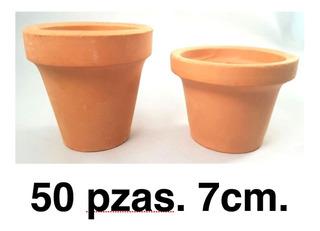 Paquete 50 Macetas De Barro O Cajetes De 7cm