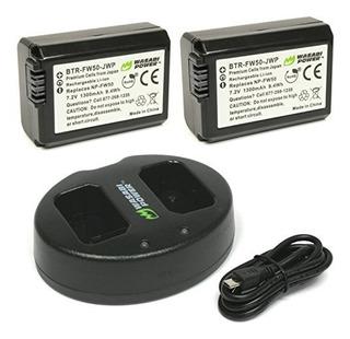 Batería Wasabi Y Cargador Dual Para Sony Np-fw50, 2 U.