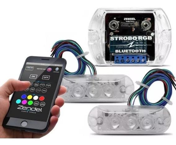 Kit Strobo Rgb Zendel Som Automotivo 8 Efeitos 7 Cores