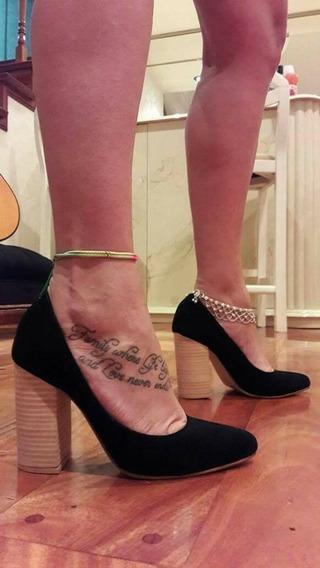 Stilettos Zapatos Con Taco Folia Madera Gamuzados