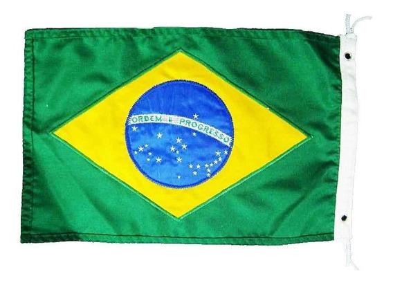 Bandeira Do Brasil Para Barco Mastro Alcançado Náutica 25x40