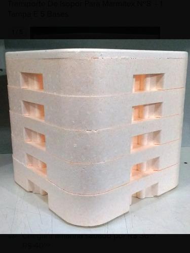 Imagem 1 de 1 de Transporte De Isopor Para Marmitex Nº8  - 1 Tampa E 5 Bases