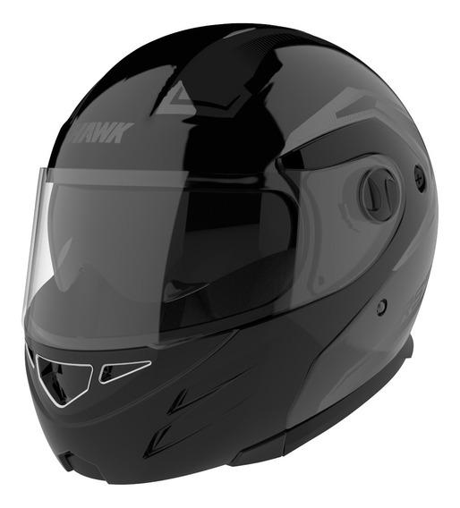 Casco Moto Hawk Rs5 Vector Rebatible Negro Doble Visor Of