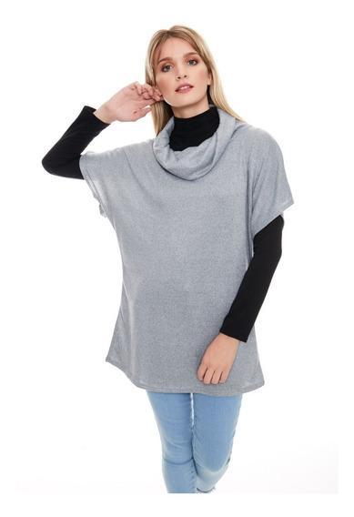Chaleco Mujer Vestido Remeron Cuello Volcado De Lanilla