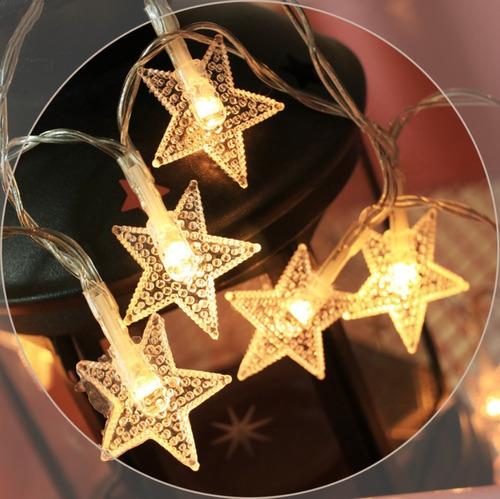 Luz Exterior Adorno 20 Luces Decorativas Estrellas 3m.