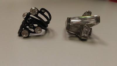 Kit Maxi Anéis Ouro Velhos Prata Cristais Assimétrico Fashio