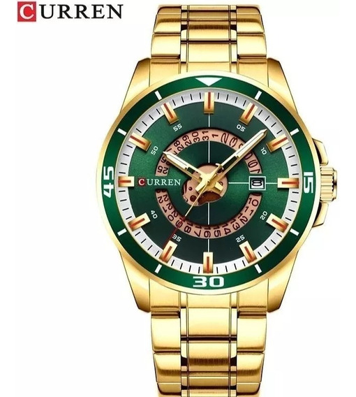 Relógio Curren Masculino Dourado Luxo Black Friday Promoção