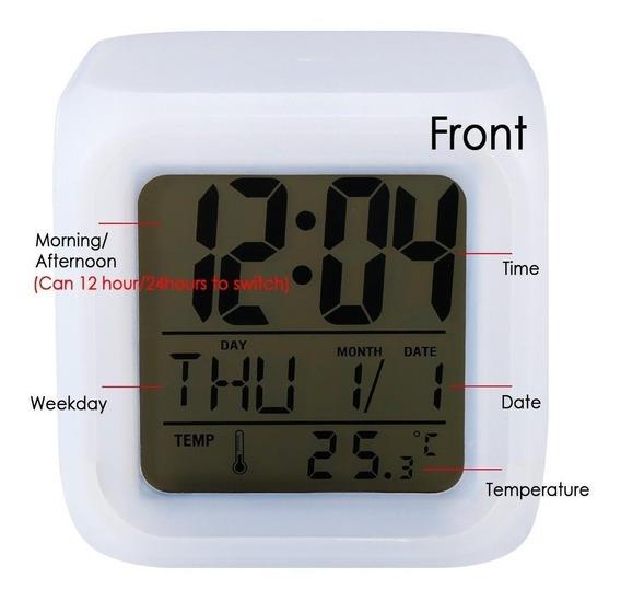Reloj Despertador Digital Reloj Decorativo Gadget 7 Colores