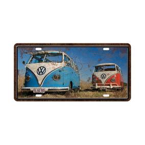 Placa Carro Antiga Em Mdf - Kombi Azul E Vermelha Praia 5263