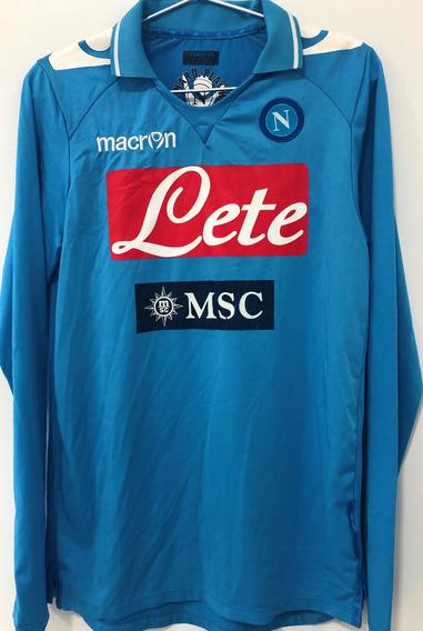 Camisa Napoli 2011/12 Usada Em Jogo Mangas Longas Número 2
