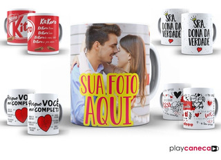 Caneca - Xícara Presente Namorados + Chaveiro + Caixinha