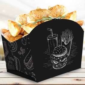 Caixinha Embalagem Batata-frita E Porções 200un Várias Cores