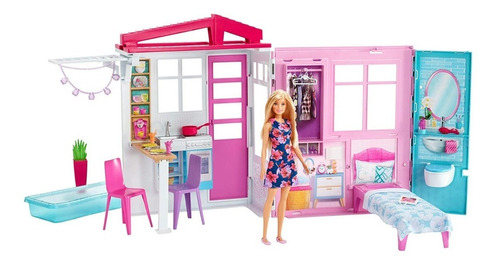 Barbie Casa Portátil Piscina Casa De Muñecas Mattel Fxg55